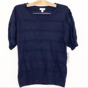 Maison Jules Blue Pointelle Puff Sleeve Sweater